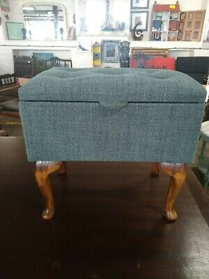 Footstool storage stool, grey green tweed refurbished