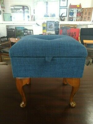 Footstool storage stool, blue tweed refurbished