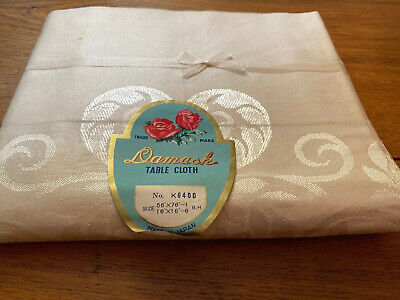 Vintage Damask Table Cloth Made In Japan