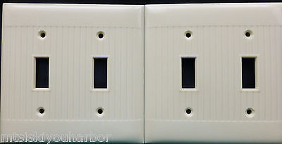 Lot 2 Vtg Ivory Bakelite Uniline Wall Light Switch Cover Plate Double Ribbed