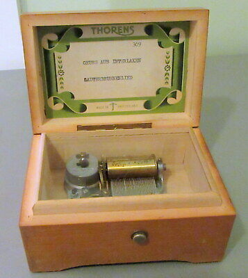 Vintage Thorens Swiss Wooden Music Box Plays 2 Songs 5 inches.FRANZ KARL WEBER