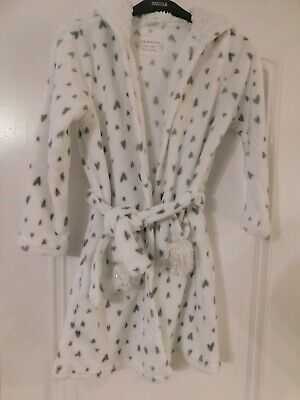 Girl's white and grey Primark dressing gown. age 8-9. excellent