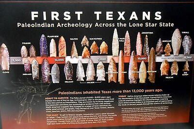 Poster Texas Paleo Period Arrowheads & Tools Archeology Lithic Flaked Stone Tool