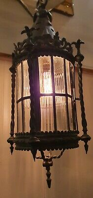 Gothic Antique Faraday & Sons Bronze Hall Lantern, English Made, Leaded Glass