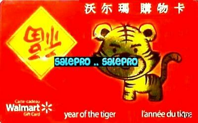 Walmart 2010 Chinese Year Of The Tiger Horoscope Rare Collectible Gift Card