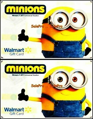 2x WALMART 2015 MINIONS THUMBS UP ANIMATION MOVIE RARE COLLECTIBLE GIFT CARD LOT