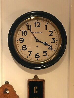 "Antique Scientific Co Large 15.5"" Diameter Wall Clock, Working With Key"