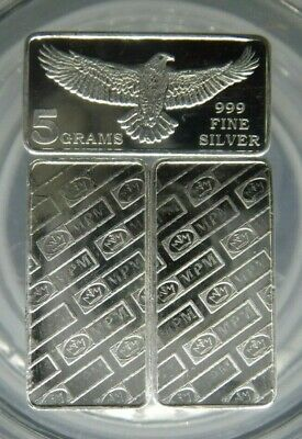 50 gram SILVER  10 x 5 Gram Bars MPM Solid silver Bullion .999 Purity