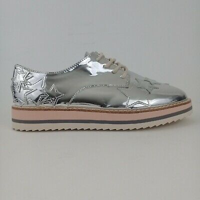 Zara kids NWT Derby Metallic Silver Stars Lace Up Shoes Girls Size 5