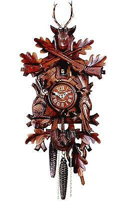 Hubert Herr ,  Black Forest  lovely hand carved hunter style 1 Day cuckoo clock.