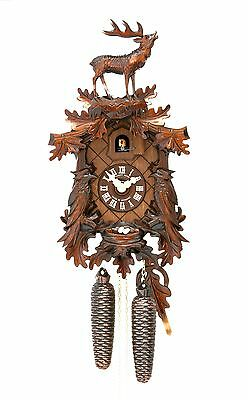 Hubert Herr,  Black Forest lovely hand carved cuckoo clock with Standing stag.