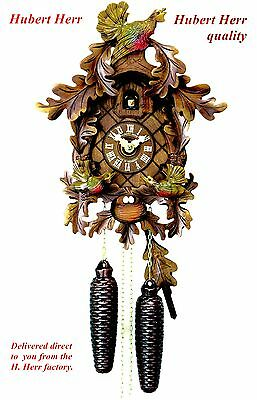 Hubert Herr, Black Forest new 8 day cuckoo clock,  3 lovely hand carved birds.
