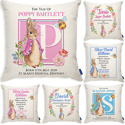 Personalised Chistening Rabbit Cushion New Baby Pillow Cover Baby Shower Gift