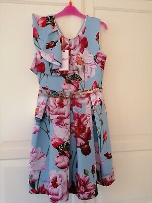 New Ted Baker Girls Blue Floral Frill Dress age 11 Years rrp£50