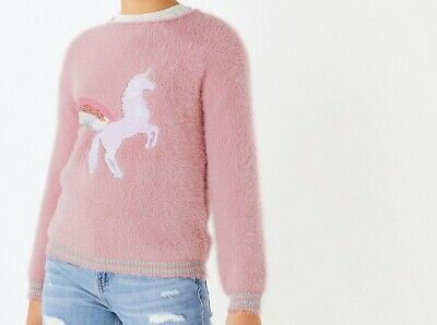 New Girls Pink Fluffy Unicorn Jumper Marks & Spencer Age 13-14 Yrs Rrp £22