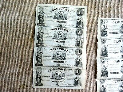 Uncut Sheet of four $1 Key Forint Banknotes To Finance Hungary Rebellion of 1848