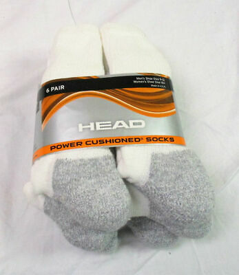 6 Pack Costco Head Power Cushioned Socks White Men's Size 9-12 Cushion / Tags