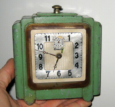 1920'S Art Deco Era Vintage Antique Cast Metal Mantle / Table Top Clock  / Retro