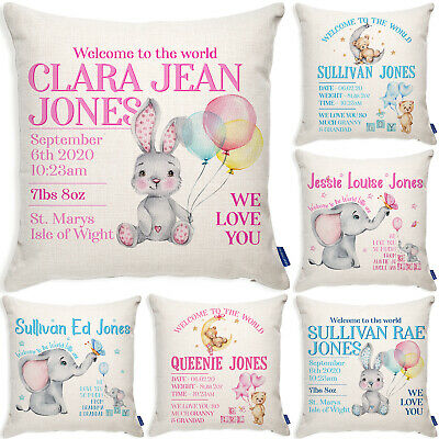 Personalised New Baby Gift Cushion Cover Christening Pillow Cute Baby Shower