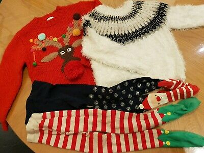 Girls Christmas clothes bundle: Jumper &  tights Age 5-6