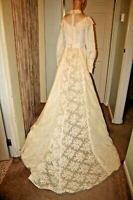 Vintage 70's Wedding Gown Detachable Train, Handcrafted Hippie gown Small