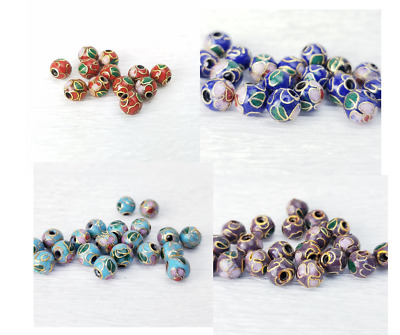 Chinese Cloisonne Floral Enamel 4 or 6mm BEADS 12PC Your Choice of Color