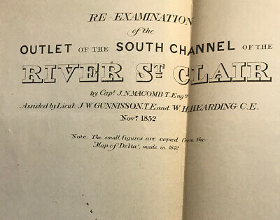 ReExamination Outlet Of The South Channel Of River St. Clair 1852 Michigan Map 2