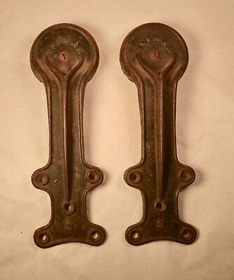ANTIQUE Rustic Cast Iron CLIMAX Barn Door Rollers  H & E Y Moore CHICAGO 1876