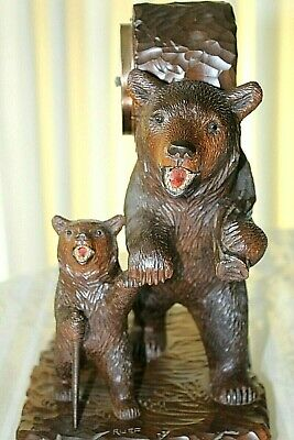 ANTIQUE BLACK FOREST CARVED HIKING BEAR WITH CUB SIGNED RUEF c.1900-1910
