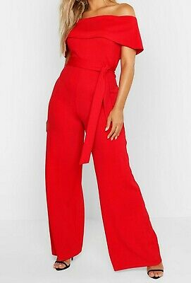 Boohoo Red Jumpsuit 24 BNWT
