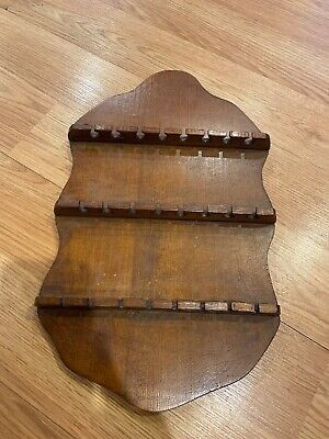 Vintage Wooden Wood Souvenir Spoon Collector Wall Rack Display Holds 24 Spoons