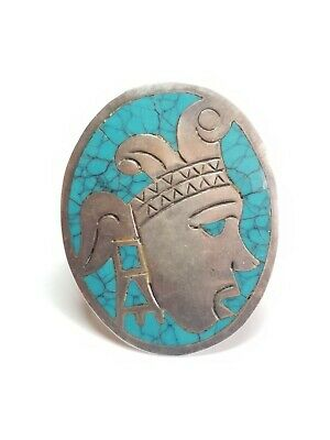Vintage Mexico 925 Sterling Silver Turquoise Inlay Aztec Warrior Brooch Pendant