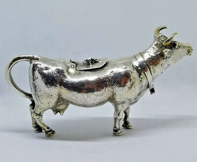 Antique Original German 925 Sterling Silver Cow Figural Creamer Fly Insect