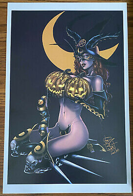 TAROT WITCH OF THE BLACK ROSE HALLOWEEN WITCH 11x17 ART PRINT JIM BALENT Pumpkin