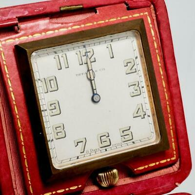Vintage Tiffany & Co. 8 Day Swiss Travel Clock, Red Leather Case