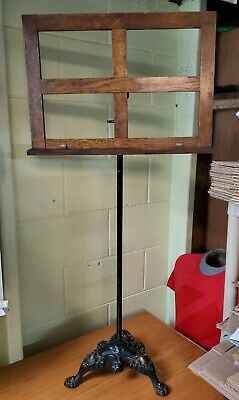 Antique Music Stand Cast Iron Claw Foot Base Early 1900's Adjustable Height