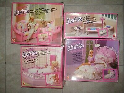 Vintage 1980 90s BARBIE Dollhouse Furniture Bed Bath Table Couch Box Sets USED
