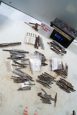 #5221 lot of over 125 metalworking taps in multiple sizes, with wrenches