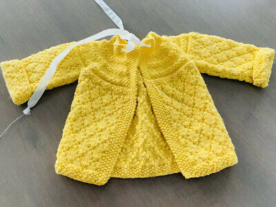 Knit Crochet Yellow Sweater Top Baby No Size See Measurements Handmade Vintage
