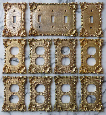 1960s FLORENTA of CALIF ornate SWITCH PLATES x12 Hollywood Regency OUTLET COVERS