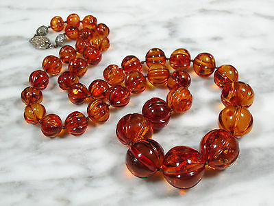 Huge Old Antique Chinese Carved Melon Bead Baltic Amber Necklace 94.8 Grams!!!!!