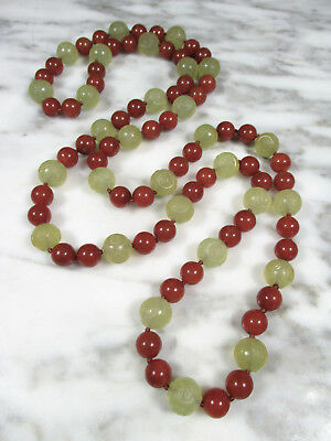 """Antique Chinese Red Aventurine Carved Shou Green Serpentine Beaded Necklace 42"""""""