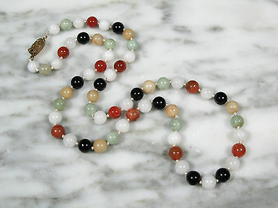 VINTAGE CHINESE EXPORT MULTI-COLOR JADEITE JADE 8mm BEADED NECKLACE