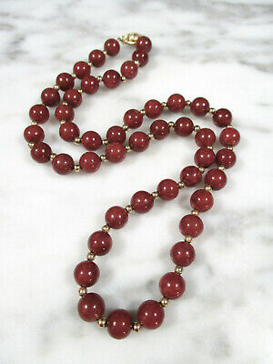VTG CHINESE RUSSET RED JADEITE JADE 8mm BEADED 14K YELLOW GOLD NECKLACE 43.2g #2