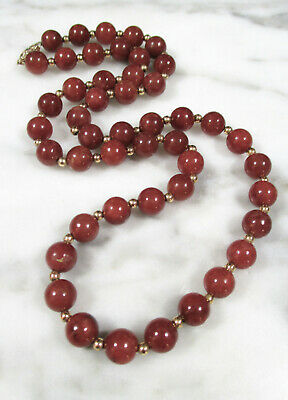 VTG CHINESE RUSSET RED JADEITE JADE 8mm BEADED 14K YELLOW GOLD NECKLACE 43.5g #1