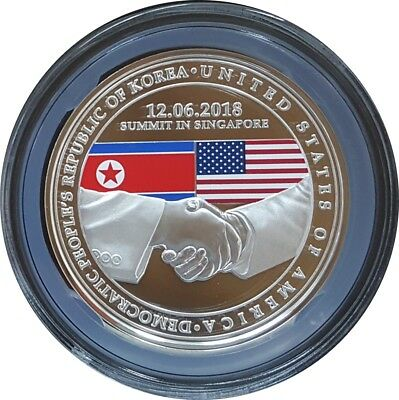 2018 Singapore United States Korea Summit 1 oz Silver PF Medal
