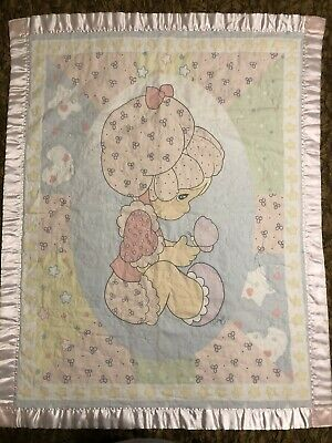 VTG Precious Moments Baby Security Satin Pink Trim Blanket Quilt Girl Soft