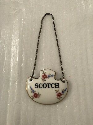 Vtg Bone China Scotch Decanter Label Liquor Bottle Tag Porcelain England