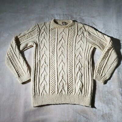 Vintage Banana Republic Sweater Small Cream Cable Knit 100% Wool Fisherman
