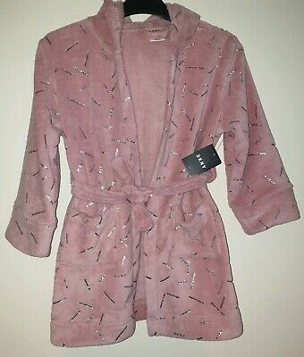 Bnwt Girls Soft Designer Dressing Gown By Dkny, In Pink, Age 6-7 Years Size S